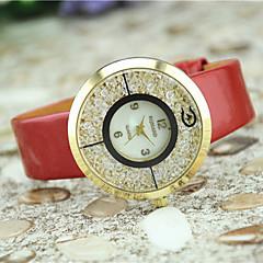 preiswerte Damenuhren-Damen Pavé-Uhr Quartz Imitation Diamant Leder Band Analog Charme Modisch Schwarz / Weiß / Blau - Braun Rot Blau