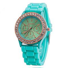 preiswerte Damenuhren-Damen Quartz Armbanduhr Schlussverkauf Rose Gold überzogen Silikon Band Charme Kleideruhr Modisch Blau Rot