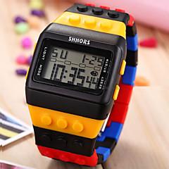 billige Herre Ure-Herre Armbåndsur Ur Træ Digital Alarm Kalender Kronograf LCD Plastik Bånd Sort Hvid Blåt Pink Mangefarvet