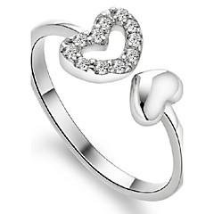 preiswerte Ringe-Damen Bandring - Sterling Silber Herz Geburtssteine Verstellbar Für Party Alltag Normal