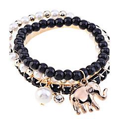 preiswerte Armbänder-Herrn Strang-Armbänder - Perle, Krystall, vergoldet Elefant, Tier Luxus, Einzigartiges Design, Modisch Armbänder Grün / Blau / Rosa Für Party / Alltag / Normal / Diamantimitate