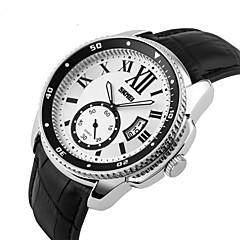 お買い得  メンズ腕時計-SKMEI 男性用 リストウォッチ クォーツ 日本産クォーツ カレンダー レザー バンド ハンズ ブラック - ブラック / ホワイト シルバーとブラック ホワイト / シルバー