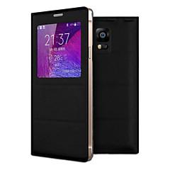 halpa Galaxy Note 4 kotelot / kuoret-Etui Käyttötarkoitus Samsung Galaxy Samsung Galaxy Note Ikkunalla Flip Suojakuori Yhtenäinen väri PU-nahka varten Note 4