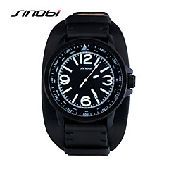 お買い得  メンズ腕時計-SINOBI 男性用 スポーツウォッチ リストウォッチ クォーツ 30 m 耐水 スポーツウォッチ レザー バンド ハンズ ブラック - ブラック