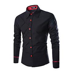 Недорогие Мужские рубашки-Муж. Офис Большие размеры - Рубашка Хлопок, Классический воротник Тонкие Деловые / На каждый день Однотонный / Длинный рукав