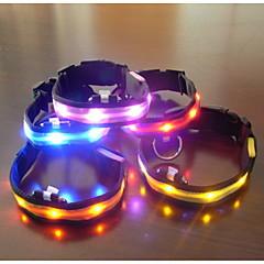 お買い得  犬用首輪/リード/ハーネス-犬 カラー LEDライト 調整可能 / 引き込み式 繊維 プラスチック レッド グリーン ブルー ピンク 虹色