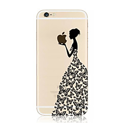 cheap -Butterfly Girl Eating Apple Pattern TPU Soft Case for iPhone 7 7 Plus 6s 6 Plus SE 5s 5