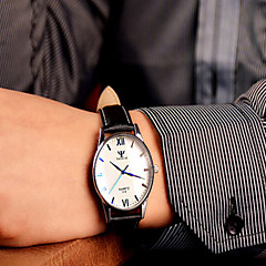preiswerte Herrenuhren-Herrn Armbanduhr Armbanduhren für den Alltag Leder Band Analog Charme Schwarz / Braun - Schwarz / Weiß Schwarz Braun / Weiß Ein Jahr Batterielebensdauer / Edelstahl
