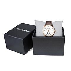 お買い得  メンズ腕時計-SINOBI 男性用 リストウォッチ クォーツ 30 m 耐水 カレンダー スポーツウォッチ レザー バンド ハンズ ぜいたく ブラウン - Brown