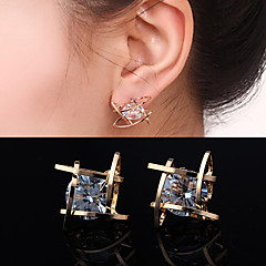 Women's Stud Earrings Costume Jewelry Zircon Cubic Zirconia Rhinestone Alloy Square Geometric Jewelry For Wedding Party Daily Casual