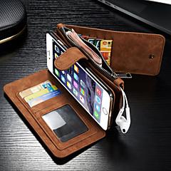 Недорогие Кейсы для iPhone 6 Plus-Кейс для Назначение Apple iPhone 8 iPhone 8 Plus iPhone 6 iPhone 6 Plus Бумажник для карт Кошелек Флип Чехол Сплошной цвет Твердый Кожа PU