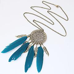 preiswerte Halsketten-Damen Quaste / Lang Anhängerketten - Feder Personalisiert, Europäisch, Modisch Schwarz, Blau Modische Halsketten Für Party, Alltag, Normal