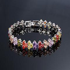 preiswerte Armbänder-Damen Kubikzirkonia Tennis Armbänder - Einzigartiges Design, Modisch Armbänder Weiß / Regenbogen Für Hochzeit / Party