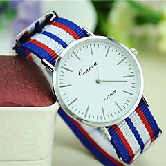 お買い得  大特価腕時計-男性 女性用 ユニセックス ファッションウォッチ クォーツ 生地 バンド 縞柄 ブラック 白 レッド