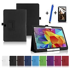 Недорогие Чехлы и кейсы для Galaxy Tab 4 10.1-Кейс для Назначение SSamsung Galaxy со стендом С функцией автовывода из режима сна Флип Чехол Сплошной цвет Твердый Кожа PU для Tab 4 10.1