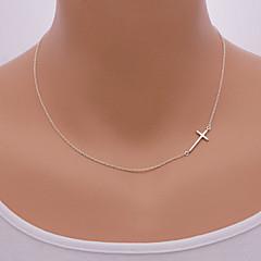 abordables -Mujer Collares con colgantes - Cruz Europeo, Estilo Simple, Oblicuo Plata, Dorado Gargantillas Para Diario, Casual
