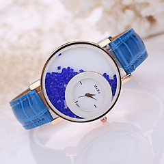 preiswerte Damenuhren-Damen Quartz Facettierte Kristalluhren Armbanduhren für den Alltag Leder Band Charme Modisch Schwarz Weiß Blau Rot Braun Rosa