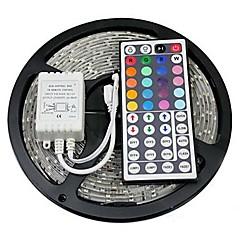 Z®zdm 5m 72w 300x5050 rgb smd lys led strip lys 44key ir fjernbetjening kit (dc12v)