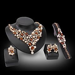 お買い得  ネックレス-女性用 合成ダイヤモンド ジュエリーセット  -  18Kゴールドメッキ, 真珠, ゴールドメッキ 幸福 ぜいたく 含める ブルー / ゴールデン 用途 結婚式 パーティー / イミテーションダイヤモンド