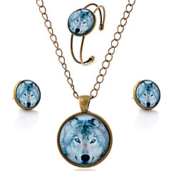 cheap Vintage Jewelry Sets-Women's Jewelry Set Earrings Necklace Bracelets & Bangles - Simple Style Wolf Animal Jewelry Set For Party Daily Casual