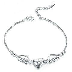Naisten Amuletti-rannekorut Love Muoti Sterling-hopea Heart Shape Valkoinen Purppura Korut Varten Party Päivittäin Kausaliteetti 1kpl