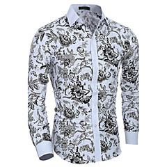 저렴한 남성 셔츠-남성용 플로럴 스프레드 카라 슬림 프린트 - 셔츠 면 / 긴 소매 / 봄 / 가을