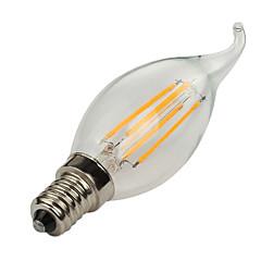 お買い得  LED 電球-1個 4W 360lm E14 フィラメントタイプLED電球 C35L 4 LEDビーズ COB 装飾用 温白色 / クールホワイト 220-240V