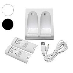 cheap Wii Accessories-Charger Dock Station + 2 Battery Packs for Nintendo Wii Remote Controller
