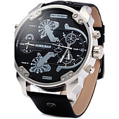 preiswerte Herrenuhren-Herrn Militäruhr / Armbanduhr Kalender / Duale Zeitzonen Leder Band Luxus Schwarz / Braun / Edelstahl / Zwei jahr / SOXEY SR626SW