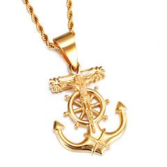 Муж. Ожерелья с подвесками Нержавеющая сталь Позолота Крестообразной формы Золотой Бижутерия Для вечеринок Повседневные Спорт 1шт