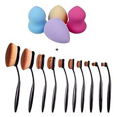 10st / set tandenborstel wenkbrauw stichting eyeliner lip ovale kwasten + 4 stuks make-up foundation puff vorm sponzen