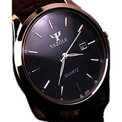 お買い得  メンズ腕時計-男性用 クォーツ リストウォッチ カレンダー 耐水 ステンレス バンド チャーム ブラック ブラウン