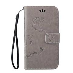 Na Samsung Galaxy Etui Etui na karty / Z podpórką / Flip / Magnetyczne / Wytłaczany wzór Kılıf Futerał Kılıf Motyl Skóra PU Samsung