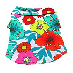 お買い得  犬用ウェア&アクセサリー-犬 Tシャツ 犬用ウェア 花/植物 虹色 コットン コスチューム ペット用 男性用 女性用 ホリデー