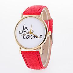 preiswerte Damenuhren-Damen Quartz Armbanduhr Armbanduhren für den Alltag PU Band Charme Freizeit Modisch Schwarz Weiß Blau Rot Orange Grün Rosa Lila Gelb