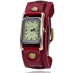 preiswerte Tolle Angebote auf Uhren-Damen Armbanduhr Quartz Armbanduhren für den Alltag Leder Band Analog Retro Modisch Kleideruhr Schwarz / Blau / Braun - Grün Blau Dunkelrot