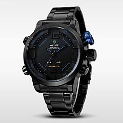 お買い得  大特価腕時計-WEIDE 男性用 リストウォッチ クォーツ 日本産クォーツ 30 m 耐水 アラーム カレンダー ステンレス バンド アナログ/デジタル チャーム ブラック - イエロー レッド ブルー / クロノグラフ付き / LED / 2タイムゾーン