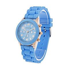 Χαμηλού Κόστους Γυναικεία ρολόγια-Γυναικεία Χαλαζίας Καθημερινό Ρολόι σιλικόνη Μπάντα Γλυκά Μαύρο Λευκή Μπλε Κόκκινο Καφέ Ροζ Μωβ Κίτρινο Χακί