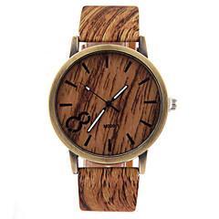 preiswerte Herrenuhren-Herrn Uhr Holz Armbanduhr Quartz Armbanduhren für den Alltag Leder Band Charme Schwarz Weiß