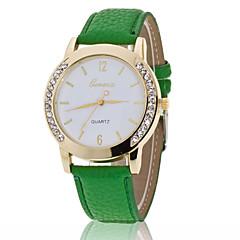 Женские Модные часы Имитационная Четырехугольник Часы Имитация Алмазный Кварцевый PU ГруппаЧерный Белый Синий Красный Коричневый Зеленый