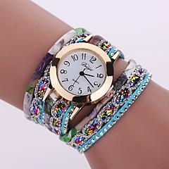 preiswerte Damenuhren-Damen Armband-Uhr Armbanduhren für den Alltag Leder Band Blume / Modisch Schwarz / Weiß / Blau / Ein Jahr / Tianqiu 377
