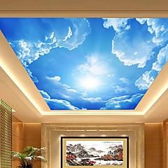 3Dシニーレザー効果広いロビーの天井壁画の壁紙青い空と雲の天井画の芸術の装飾