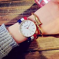 preiswerte Tolle Angebote auf Uhren-Damen Quartz Kleideruhr Modeuhr Armbanduhren für den Alltag Stoff Band Retro Weiß Blau Rot Rosa