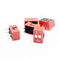 2 dígitos interruptor dip - rojo + blanco (5 piezas)