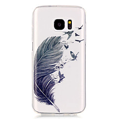 tanie Galaxy S6 Edge Etui / Pokrowce-Kılıf Na Samsung Galaxy Samsung Galaxy S7 Edge Przezroczyste Wzór Czarne etui Pióra Miękkie TPU na S7 edge S7 S6 edge S6 S5