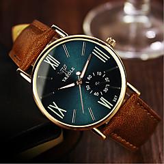voordelige Bekijk deals-YAZOLE Heren Dames Voor Stel Modieus horloge Kwarts Waterbestendig Leer Band Amulet Zwart Kaki