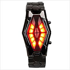 お買い得  メンズ腕時計-男性用 / 女性用 / カップル用 リストウォッチ 耐水 / クリエイティブ / LED 合金 バンド ファッション / ユニーククリエイティブウォッチ ブラック / シルバー