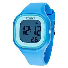 billiga Klockerbjudanden-SYNOKE Quartz Armbandsur Analog Kalender Kronograf Vattenavvisande LCD Självlysande Plast Band Elegant Svart Vit Blå
