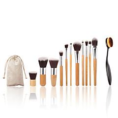 11pc bamboe handvat en nylon haar cosmetische make-up borstel set en make-up tandenborstel