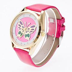 preiswerte Tolle Angebote auf Uhren-Damen Armbanduhr Transparentes Ziffernblatt Leder Band Blume / Schmetterling / Modisch Schwarz / Weiß / Blau
